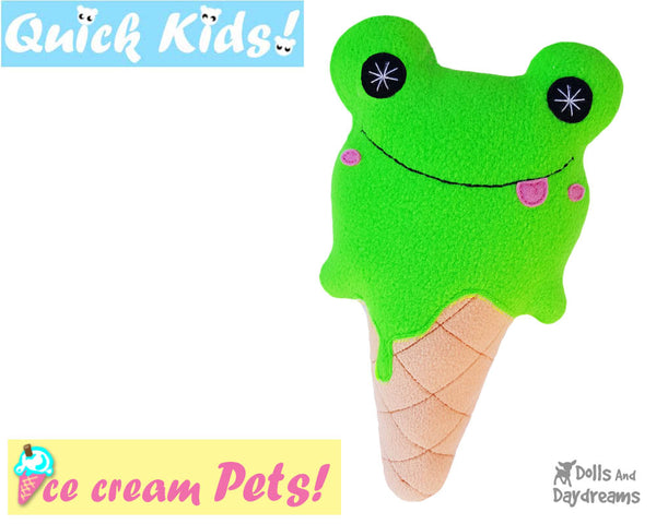 Quick Kids Ice Cream Frog Sewing Pattern PDF  kawaii plush diy by Dolls and Daydreams