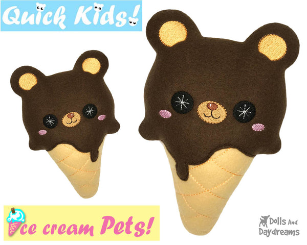 ITH Quick Kids Ice Cream Teddy Pattern In The Hoop Machine Embroidery kawaii plush diy  by Dolls and Daydreams