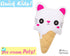 Quick Kids Ice Cream Cat Sewing Pattern PDF  kawaii plush diy by Dolls and Daydreams
