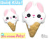 ITH Quick Kids Ice Cream Bunny Pattern In The Hoop Machine Embroidery kawaii plush diy  by Dolls and Daydreams