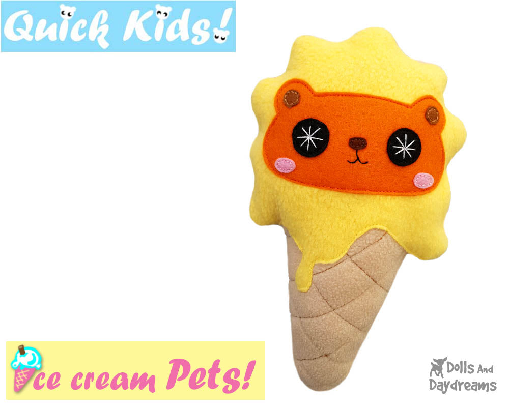 Quick Kids Ice Cream Lion Sewing Pattern | Dolls And Daydreams