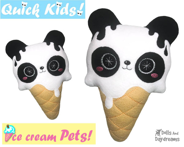 ITH Quick Kids Ice Cream Panda Pattern In The Hoop Machine Embroidery kawaii plush diy  by Dolls and Daydreams