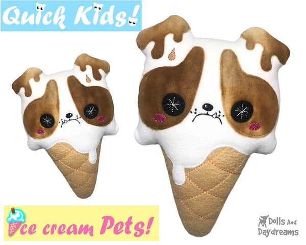 ITH Quick Kids Ice Cream Puppy Pattern In The Hoop Machine Embroidery kawaii plush diy  by Dolls and Daydreams