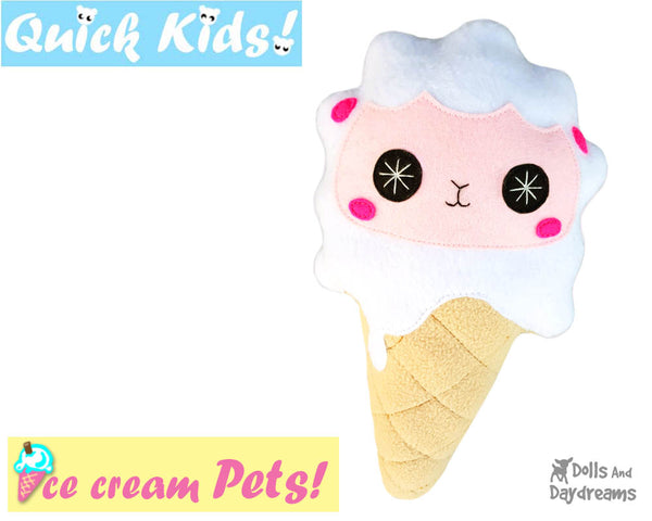 Quick Kids Ice Cream lamb Sewing Pattern PDF  kawaii plush diy by Dolls and Daydreams