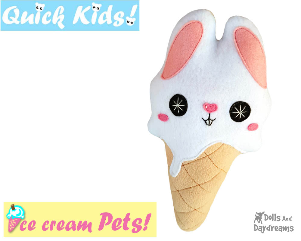 Quick Kids Ice Cream Bunny Sewing Pattern | Dolls And Daydreams