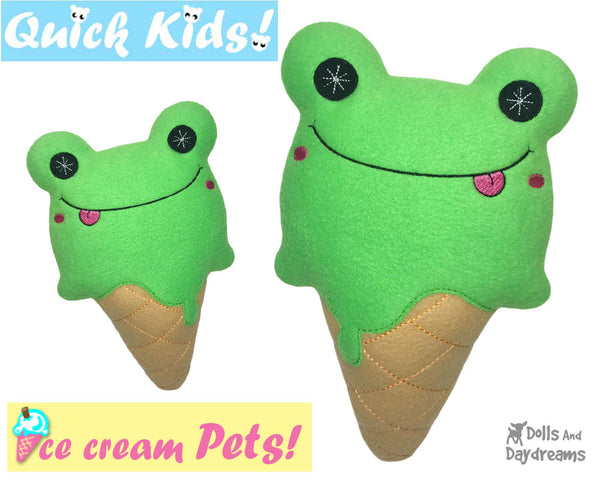 ITH Quick Kids Ice Cream Frog Pattern In The Hoop Machine Embroidery kawaii plush diy  by Dolls and Daydreams