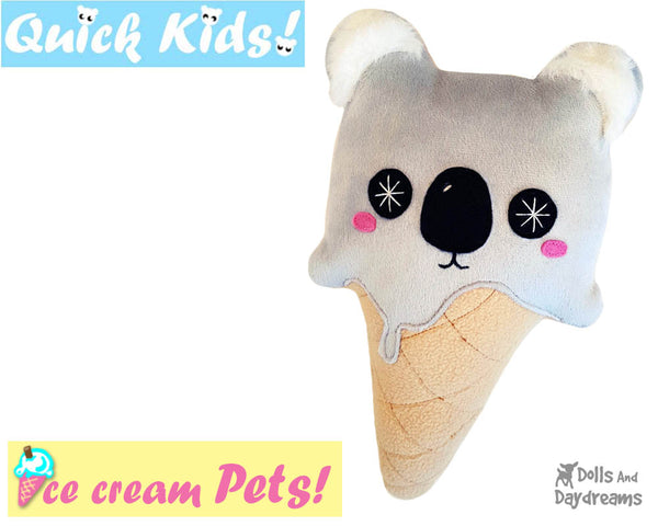 Quick Kids Ice Cream Koala Sewing Pattern PDF  kawaii plush diy by Dolls and Daydreams