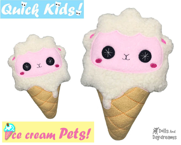 ITH Quick Kids Ice Cream Lamb Pattern In The Hoop Machine Embroidery kawaii plush diy  by Dolls and Daydreams