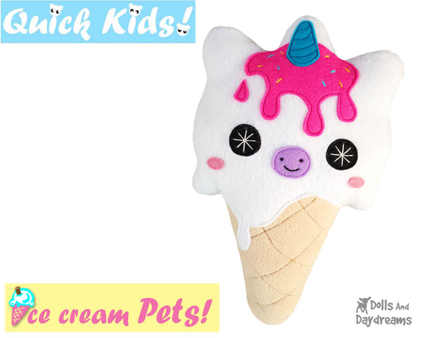 Quick Kids Ice Cream Unicorn Sewing Pattern PDF  kawaii plush diy by Dolls and Daydreams