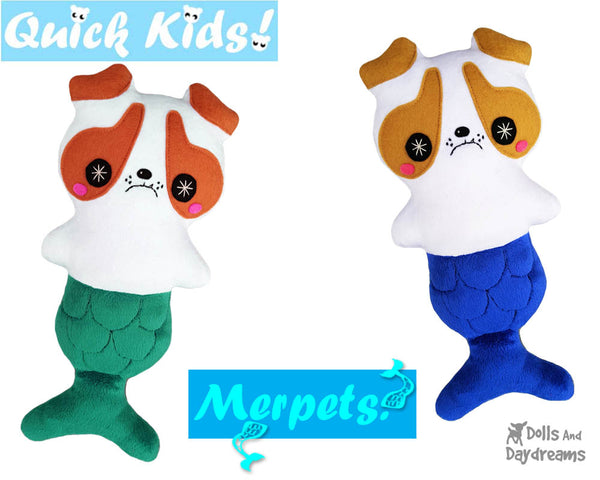 Quick Kids MerPup Doll Sewing Pattern Mermaid Puppy by Dolls And Daydreams dog mer pup