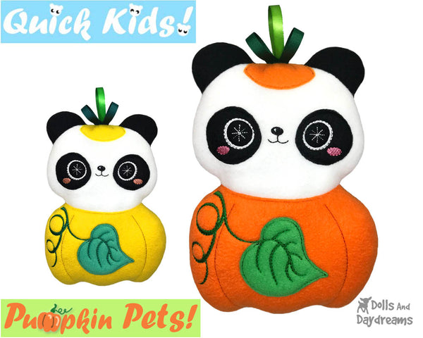 ITH Machine Embroidery Quick Kids Pumpkin Panda Soft Toy Pattern by Dolls And Daydreams