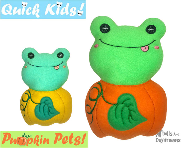 ITH Machine Embroidery Quick Kids Pumpkin Frog Soft Toy Pattern by Dolls And Daydreams