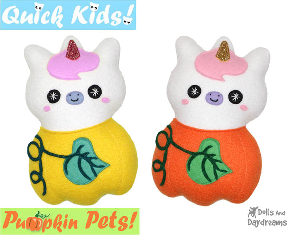 Quick Kids Pumpkin Unicorn Sewing Pattern by Dolls And Daydreams pdf