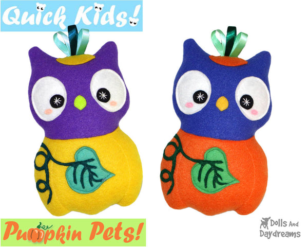 Quick Kids Pumpkin Owl Sewing Pattern PDF  kawaii plush diy by Dolls and Daydreams