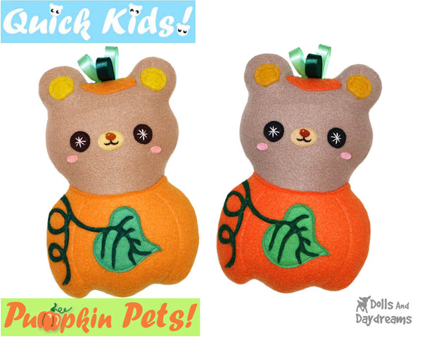 Quick Kids Pumpkin Teddy Sewing Pattern by Dolls And Daydreams pdf