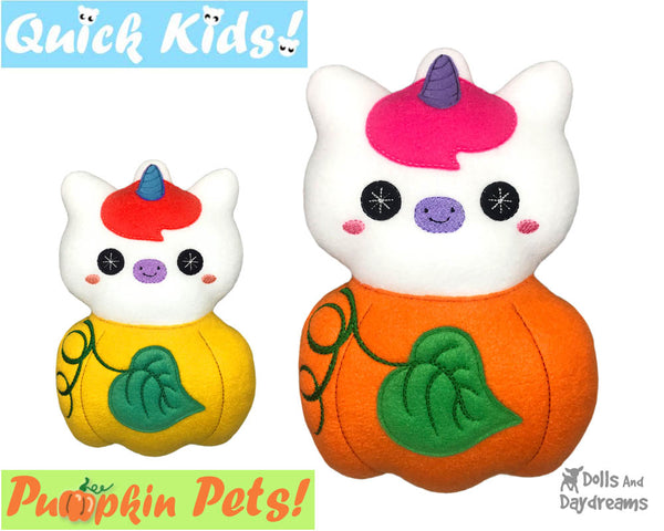 ITH Machine Embroidery Quick Kids Pumpkin Unicorn Soft Toy Pattern by Dolls And Daydreams