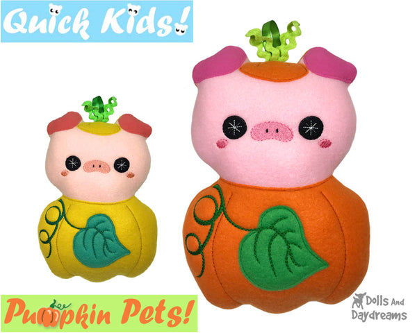 ITH Machine Embroidery Quick Kids Pumpkin Pig Soft Toy Pattern by Dolls And Daydreams