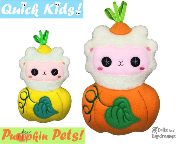 ITH Machine Embroidery Quick Kids Pumpkin Lamb Soft Toy Pattern by Dolls And Daydreams
