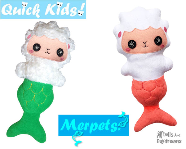 Quick Kids MerLmab Doll Sewing Pattern Mermaid Lamb Sheep by Dolls And Daydreams