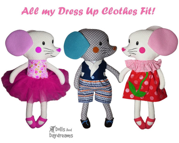 Mouse Sewing Pattern DIY Kids Plush PDF soft Toy