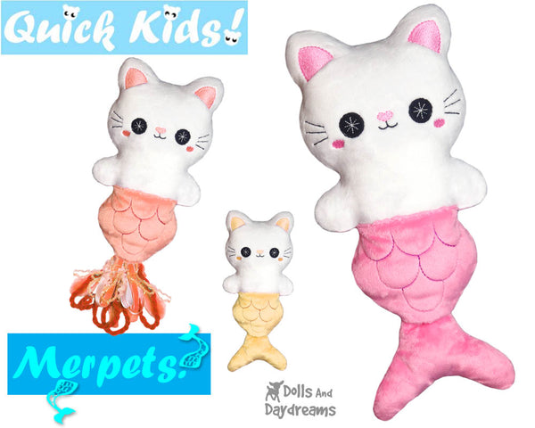 ITH Quick Kids PLUS MerCat Pattern by Dolls And Daydreams In the hoop Mermaid Cat