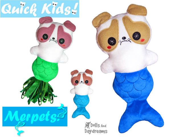 ITH Quick Kids PLUS MerPup Pattern by Dolls And Daydreams In the hoop Dog Mermaid puppy