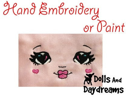 Hand Embroidery Or Painting Love U Doll Face Pattern