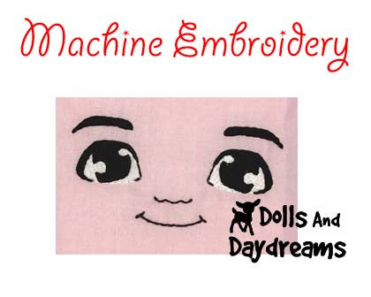 Machine Embroidery Mini Manga Boy Doll Face Pattern