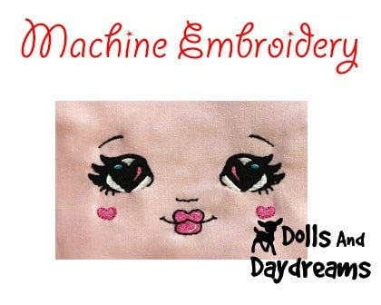 Machine Embroidery Love U Doll Face Pattern