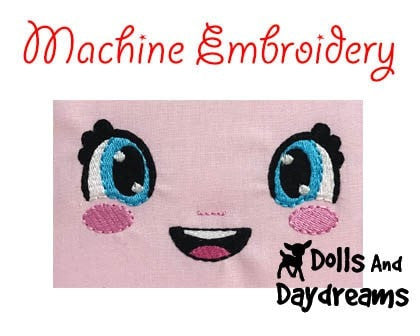 Machine Embroidery Bubble Eyes Doll Face Pattern