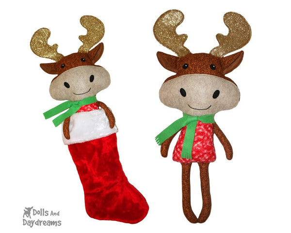 Christmas Moose Sewing Pattern Kids Toy