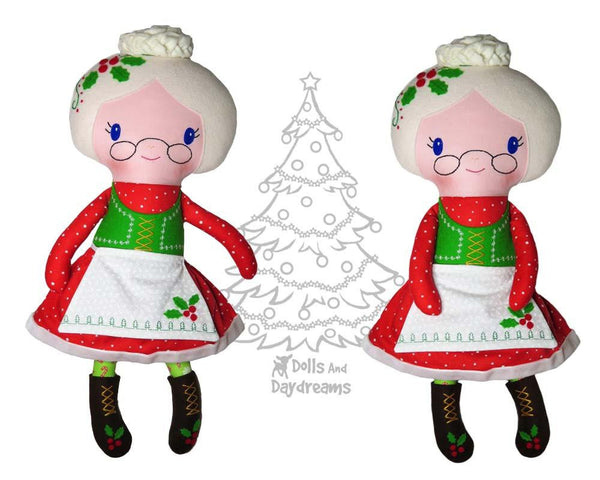 Mrs. Claus Christmas Rag Doll Sewing Pattern by Dolls And Daydreams