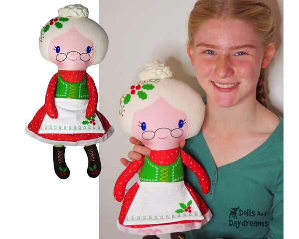 Mrs. Claus Cloth Doll Sewing Pattern by Dolls And Daydreams