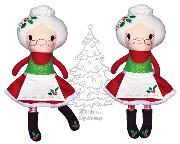 ITH Mrs. Claus Christmas Machine Embroidery doll Pattern by dolls and daydreams