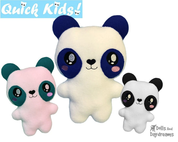 ITH Quick Kids Panda machine embroidery Pattern