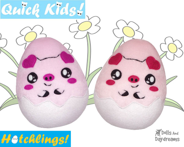 Quick Kids Pig Hatchling Softie Sewing Pattern soft toy Plushie diy by Dolls And Daydreams