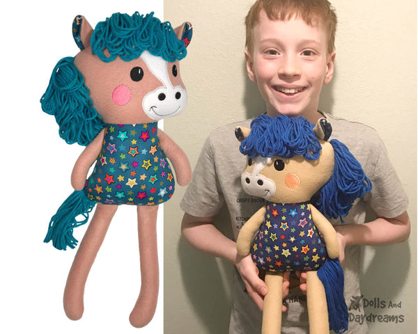 ITH Yarn Hair Horse Machine Embroidery Pattern Softie DIY Kids Softie In the Hoop Plush Toy by Dolls And Daydream