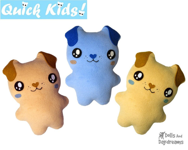 Quick Kids Puppy Sewing Pattern teach kids to sew