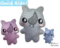ITH Quick Kids Rhino machine Embroidery Pattern by Dolls And Daydreams