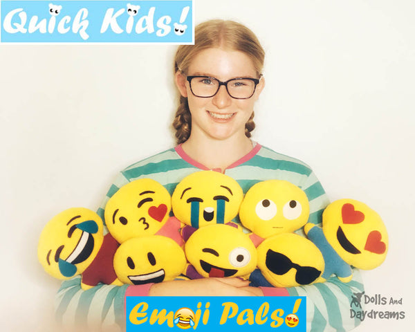 Quick Kids Emoji Plush soft toy Sewing Pattern easy DIY sew it yourself easy stitch