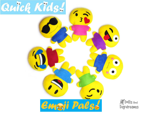 Quick Kids Emoji Sewing Patterns by Dolls And Daydreams