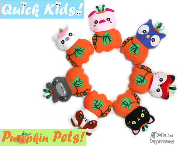 Quick Kids Pumpkin Pets Sewing Pattern PDF  kawaii plush diy by Dolls and Daydreams