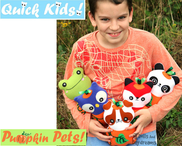 Pumpkin Pets Sewing Pattern PDF  kawaii plush diy by Dolls and Daydreams