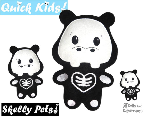 ITH Quick Kids Skelly Kitty Hippo Pattern DIY Kids Soft toy by Dolls And Daydreams