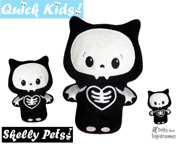 Quick Kids Skelly Bat In The Hoop Pattern DIY Day of The Dead Plush Toy by Dolls And Daydreams