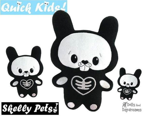 Quick Kids Skelly Bunny Rabbit In The Hoop Pattern Day of The Dead Plush Toy by Dolls And Daydreams