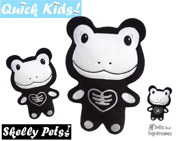 Quick Kids Skelly Frog In The Hoop Pattern DIY Day of The Dead Plush Toy by Dolls And Daydreams