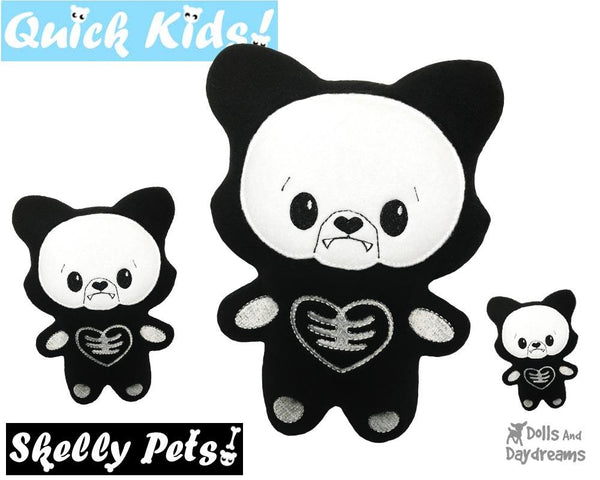 ITH Quick Kids Skelly Wolf Pattern in the hoop machine embroidery soft toy by dolls and daydreams