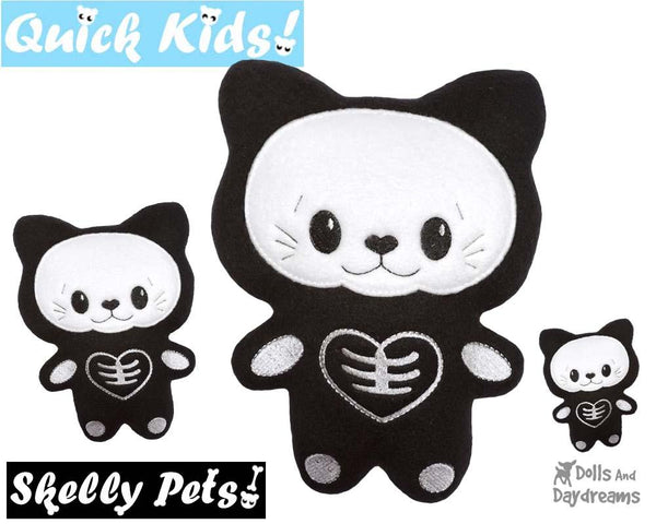 ITH Quick Kids Skelly Kitty Cat Pattern DIY Kids Soft toy by Dolls And Daydreams
