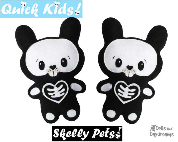 Quick Kids Skelly Bunny Rabbit Sewing Pattern skeleton pet diy kids toy by Dolls And Daydreams
